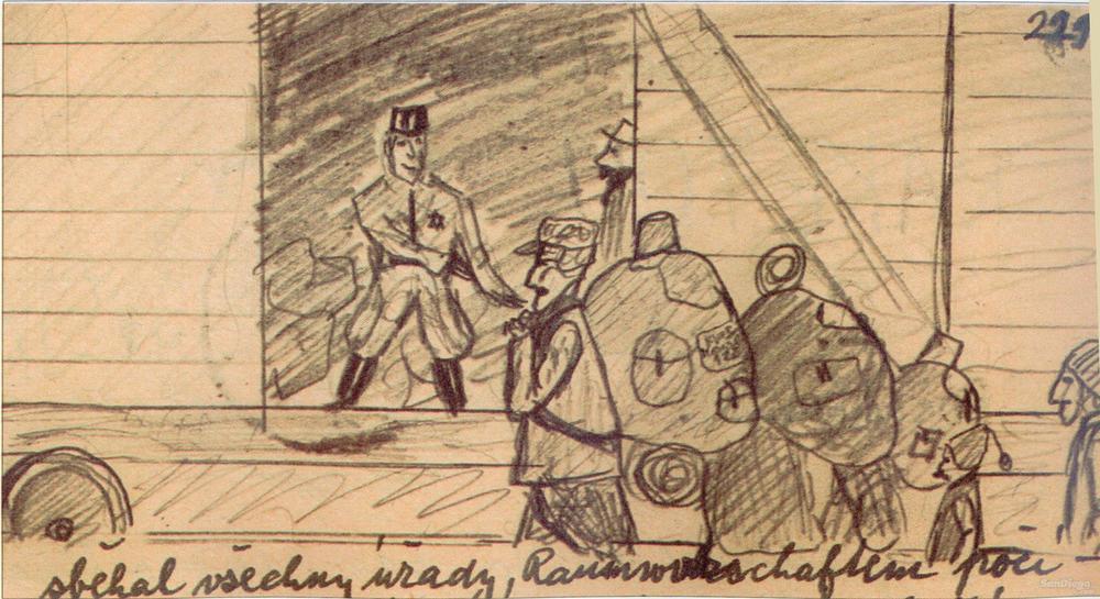 La visión de un niño sobre la transportación de personas a un campo de concentración. En este caso, el campo de concentración de Terezin.