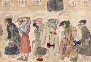 las personas arribando al campio de concetración de Terezin, según la representación de un niño cuativo en el campo. Diversos dibujos que representan la vida diaria en un campo de concentración fueron encontrados cuando terminó la Segunda Guerra Mundial.