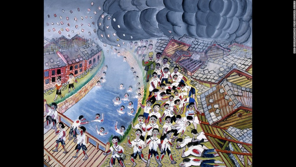 El niño Hideo Kimura dibujó esta escena que vio después del bombardeo de Hiroshima, el 6 de agosto de 1945: son sus compañeras y compañeros de clase, quemados, gritando, algunos inconscientes o muertos y otros aferrándose a la orilla de un río. Estos dibujos se encuentran en el Museo de la Paz de Hiroshima.