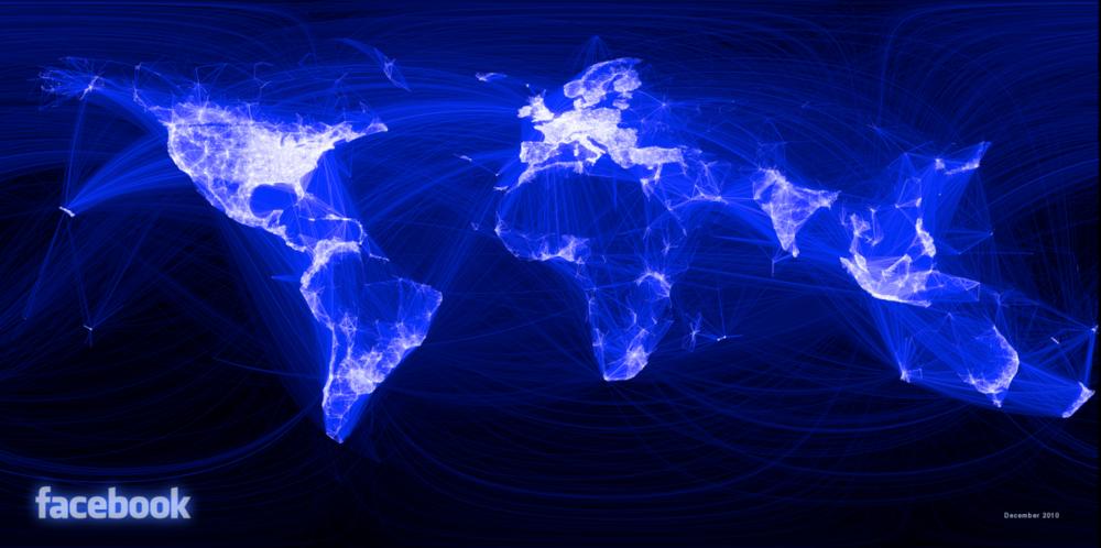 La imagen representa las conexiones entre 10 millones de usuarios de Facebook. Como puede apreciarse, China y Ruisa no presentan muchas conexiones debido a que en China y Rusia utilizan servicios distintos a Facebook.La visualización de estos datos fue obtenida de  http://www.customerintelligence360.com/5-absolutely-stunning-big-data-visualizations/