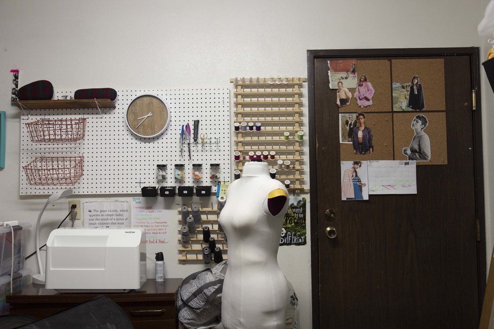 full picture of knitting and sewing studio