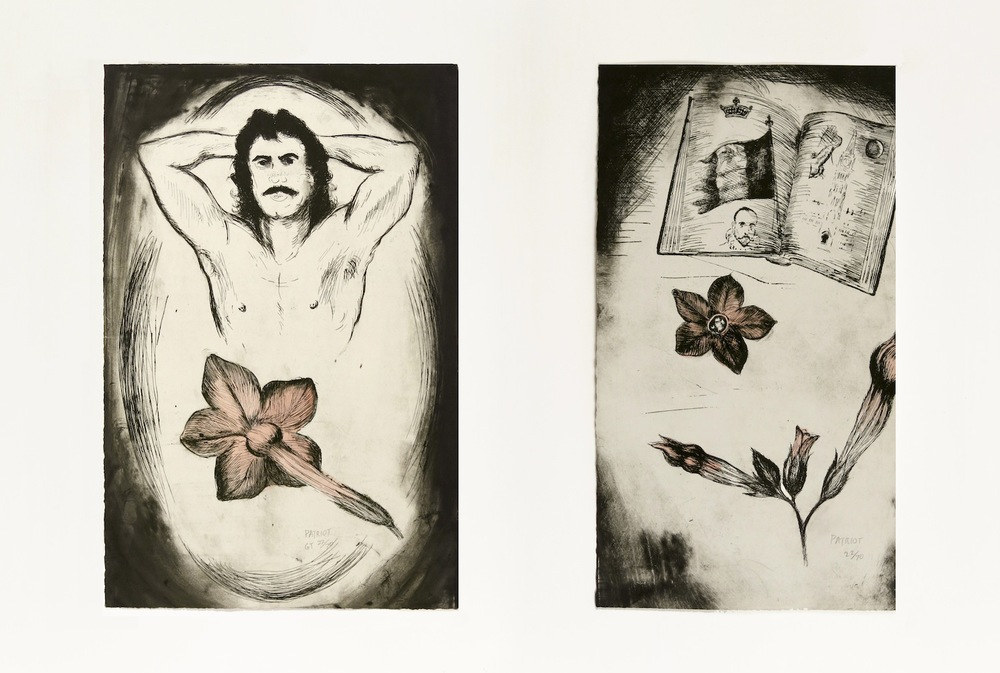 GENE THRENDYLE  Patriot   (diptych), 1990 Hand coloured etching