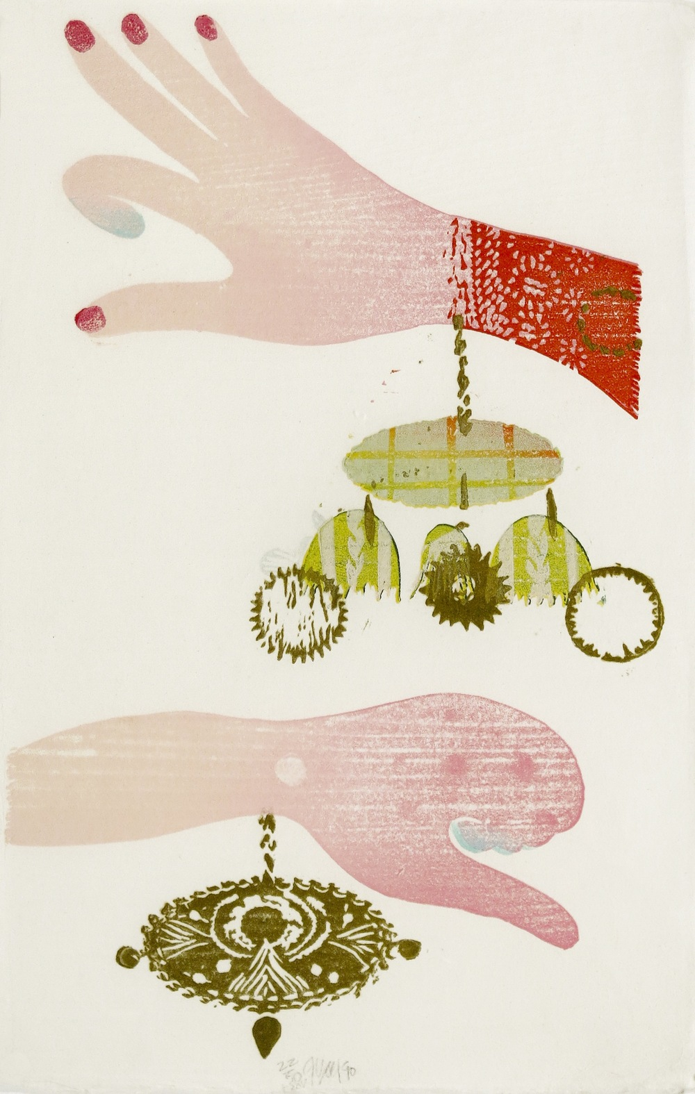 JULIE VOYCE Untitled , 1990 Linocut on rice paper with printed slip sheet
