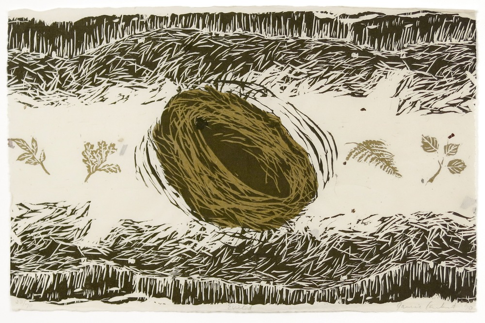 JANICE CARBERT Untitled , 1990 Linocut on Japanese bark paper