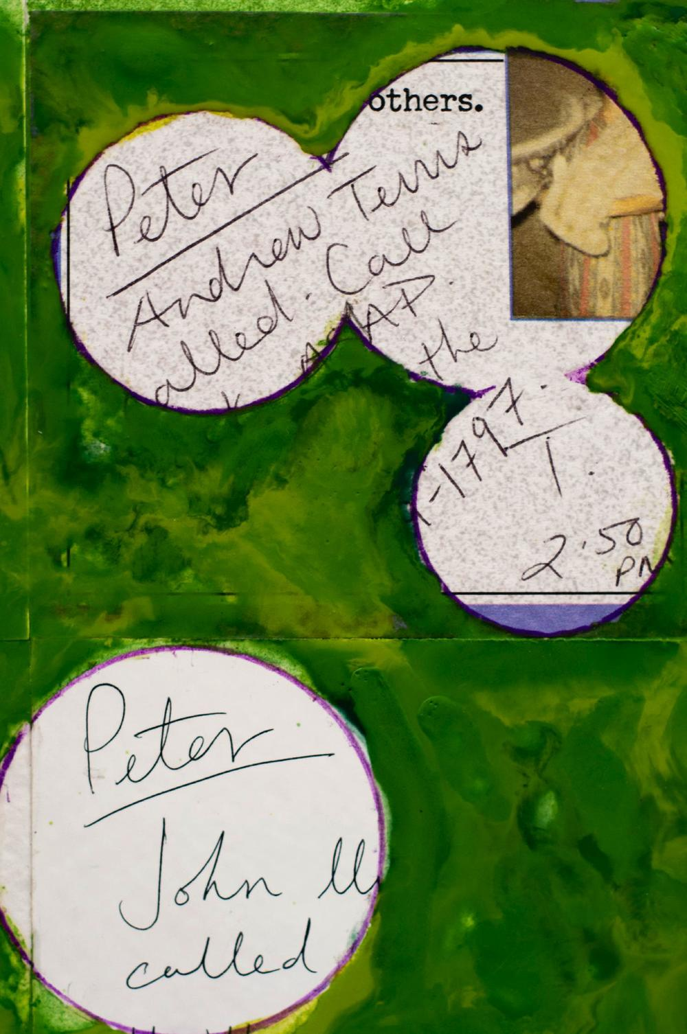 PETER DYKHUIS       Detail from  Inventory #5  , 2012 Mixed media with encaustic on 12 clipboards, 51.5x29 inches.