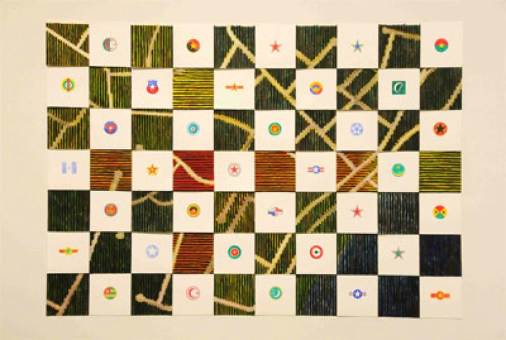 PETER DYKHUIS  Star Power (31 Douglas Drive)  ,  2010 Watercolour and encaustic on paper, 124.4 x 177.8 centimetres installed
