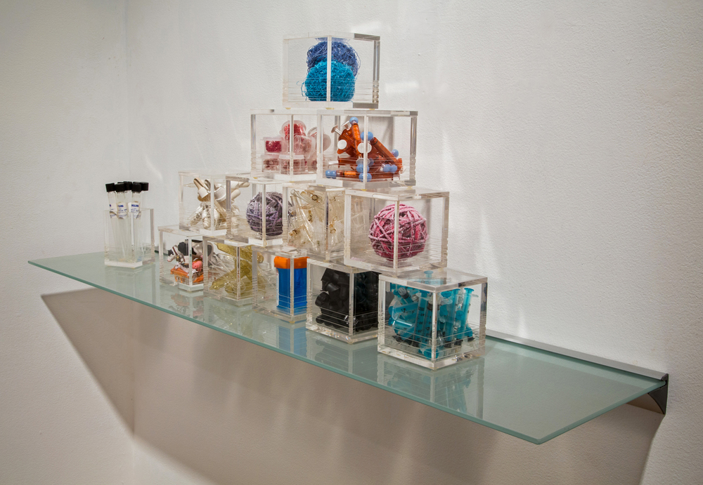 """Microbes, Tools & Transmitters  Acrylic boxes with mixed media 31""""x 7"""" x 6"""" 2013"""