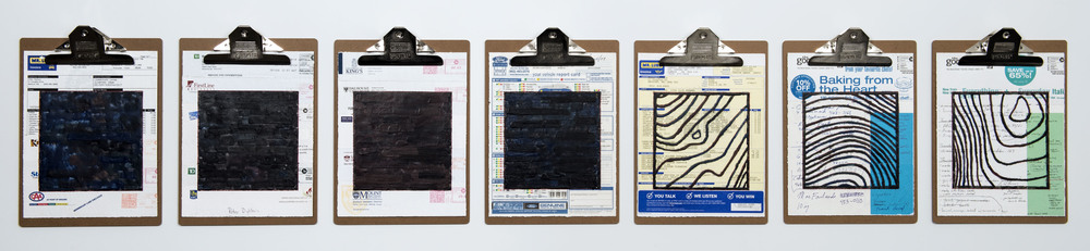 PETER DYKHUIS  Home Front #1,  2013. Encaustic, mixed media collage on paper, mounted on 7 commercial clipboards, 13 x 69 inches installed. Photo Credit: Steve Farmer