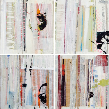 ANN O'BRIEN  Chicago Blocks , 2014. Mixed media, 12 x 12inches each.