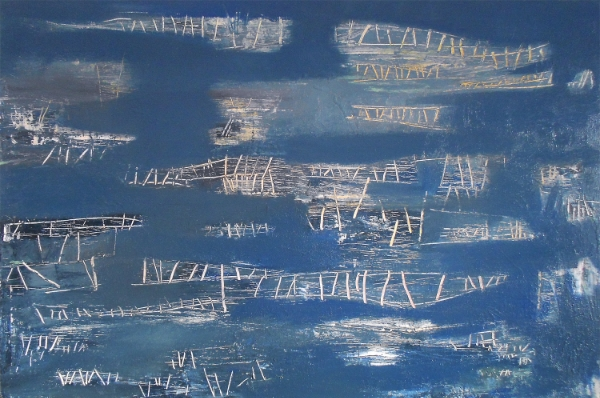 BILL PHILIPOVICH  Structures On Blue , 2014. Acrylic on canvas, 40 x 60 inches.
