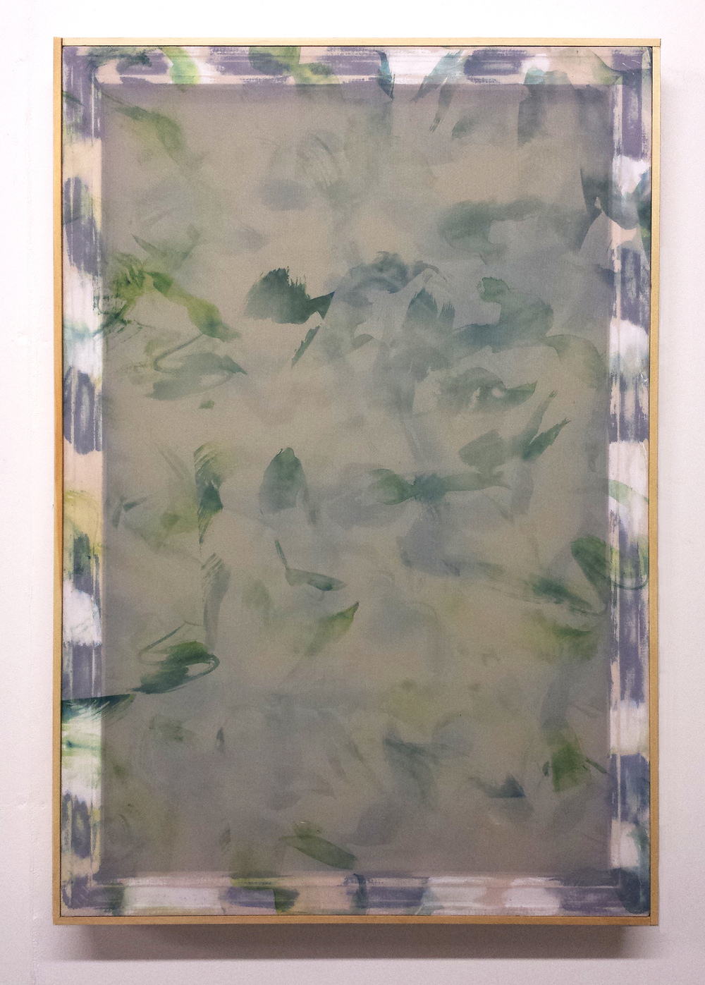 SARAH SANDS PHILLIPS Veiling, Veiling, 2014. Fabric dye on two layers of polyester fabric, acrylic paint, artist frame, 36 x 24 x 1.5 inches.