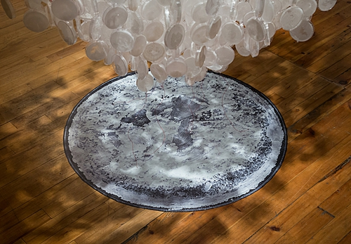 "Shiver  (detail 1), 2015 104"" x 56"" x 56"" Petri dishes, grown salt crystals, wool, fishing wire, vinyl print, pipette tips, wire Photo by David Williams"