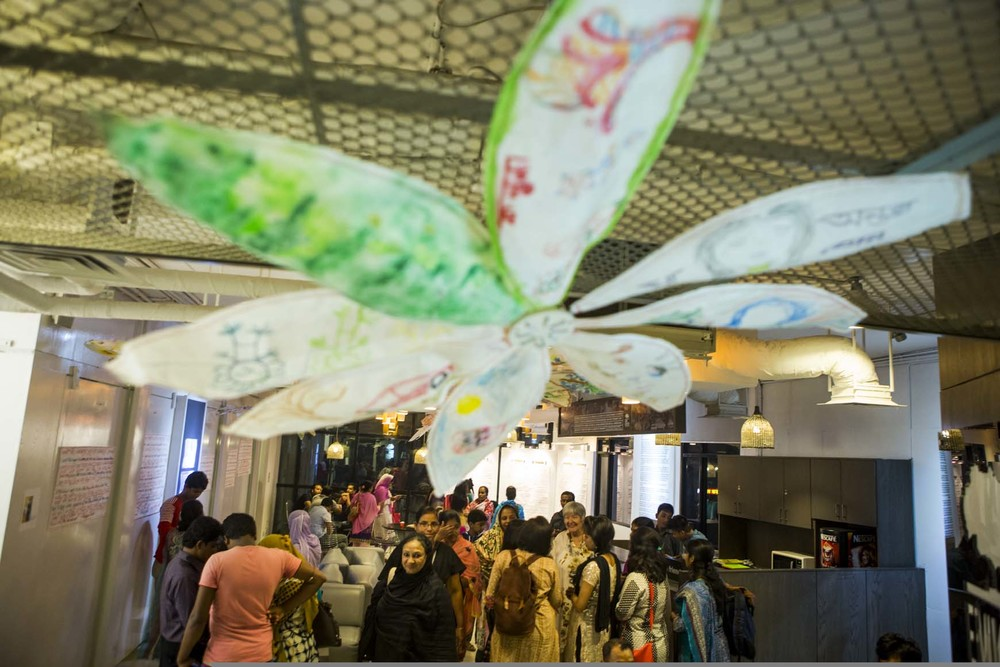 ROBIN PACIFIC Garment workers in Dhaka at the exhibition of their work, November, 2015.   Photo by Mumit Mahbib.