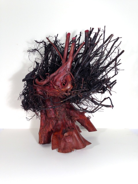 "Black Madonna,  2014 Tree root, wood stains 28"" x 28"" x 24"""