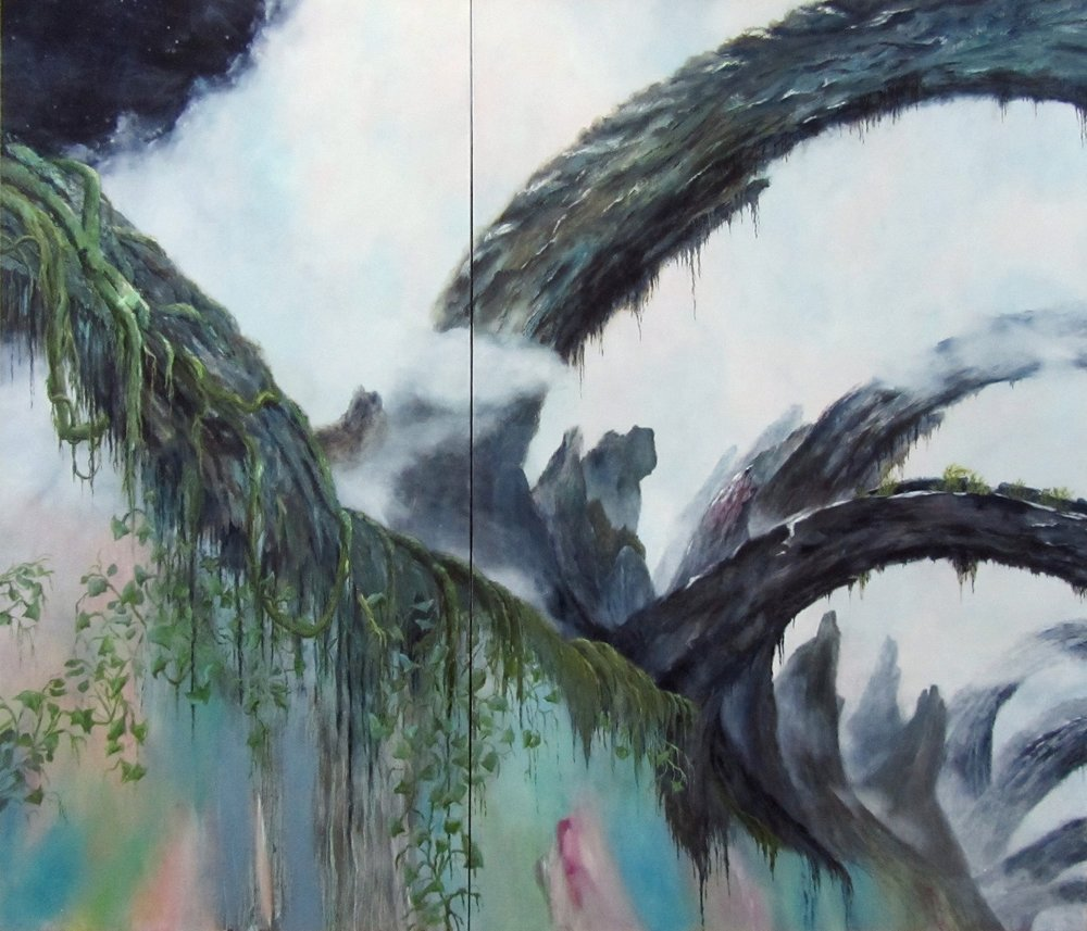 LYNN CHRISTINE KELLY dreamscape oil on linen, 72x84inches (diptych)