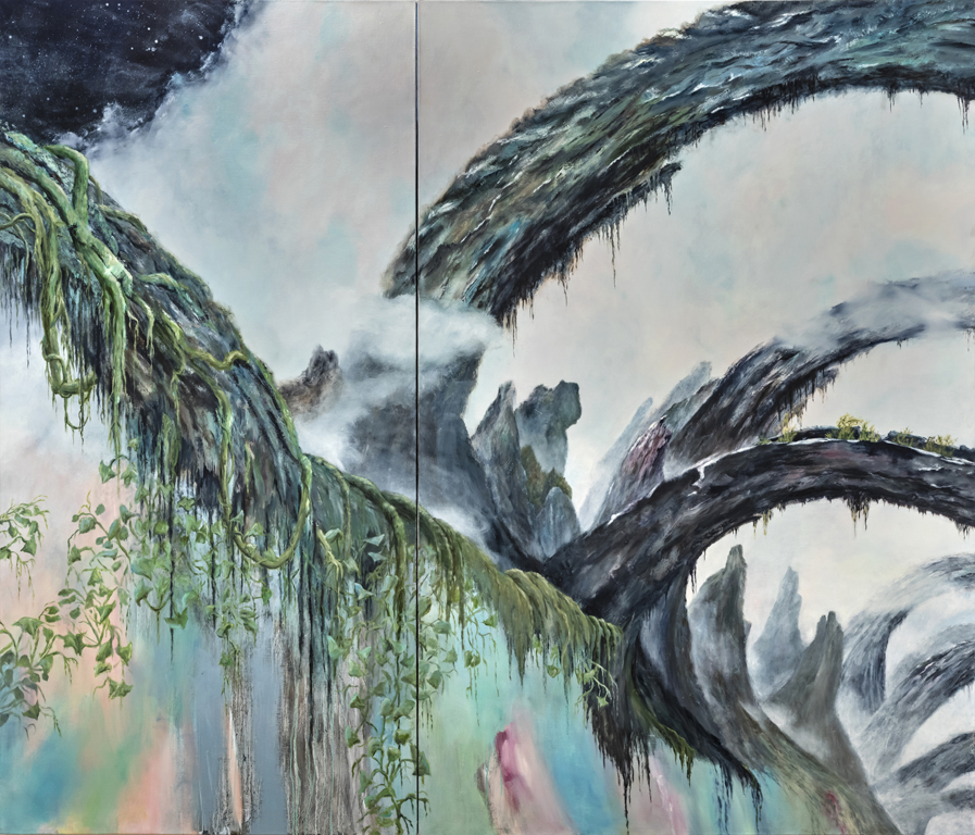 "LYNN CHRISTINE KELLY  Dreamscape  Oil on linen 72' x 84"", diptych"