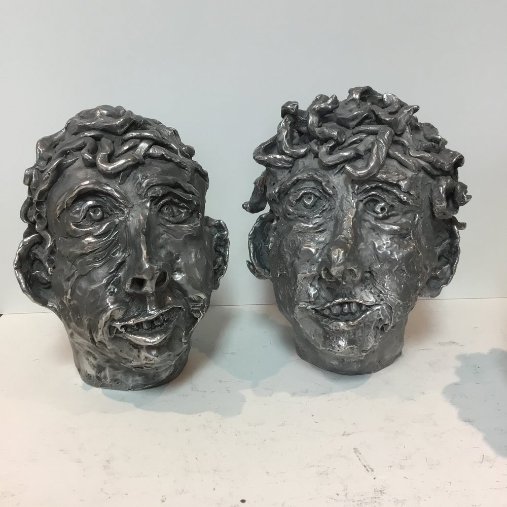"Two heads,  2017 Moulded aluminum 10.5"" x 10"" x 8"""