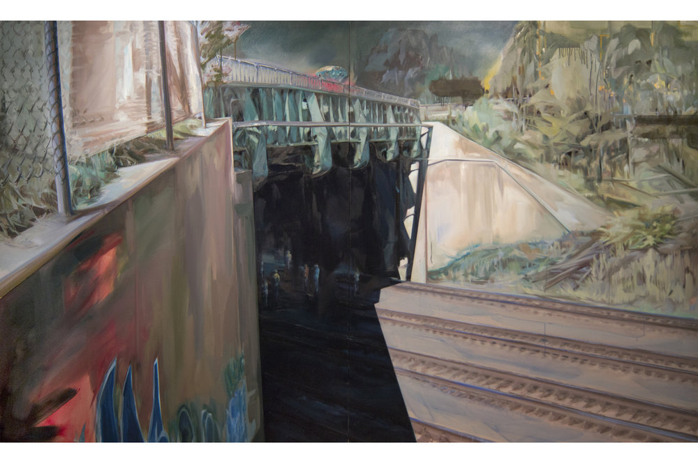 "You can only get there from here  - The Cathedral, 2013 Oil & acrylic on canvas Diptych, 72"" x 120"""