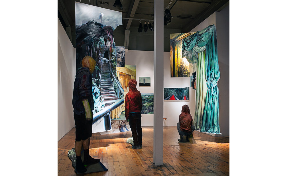 We found ourselves within a dark forest  - installation view Oil & acrylic on canvas, Mylar, Masonite, digital print on MDF, ABS pipe Dimensions variable. 2015