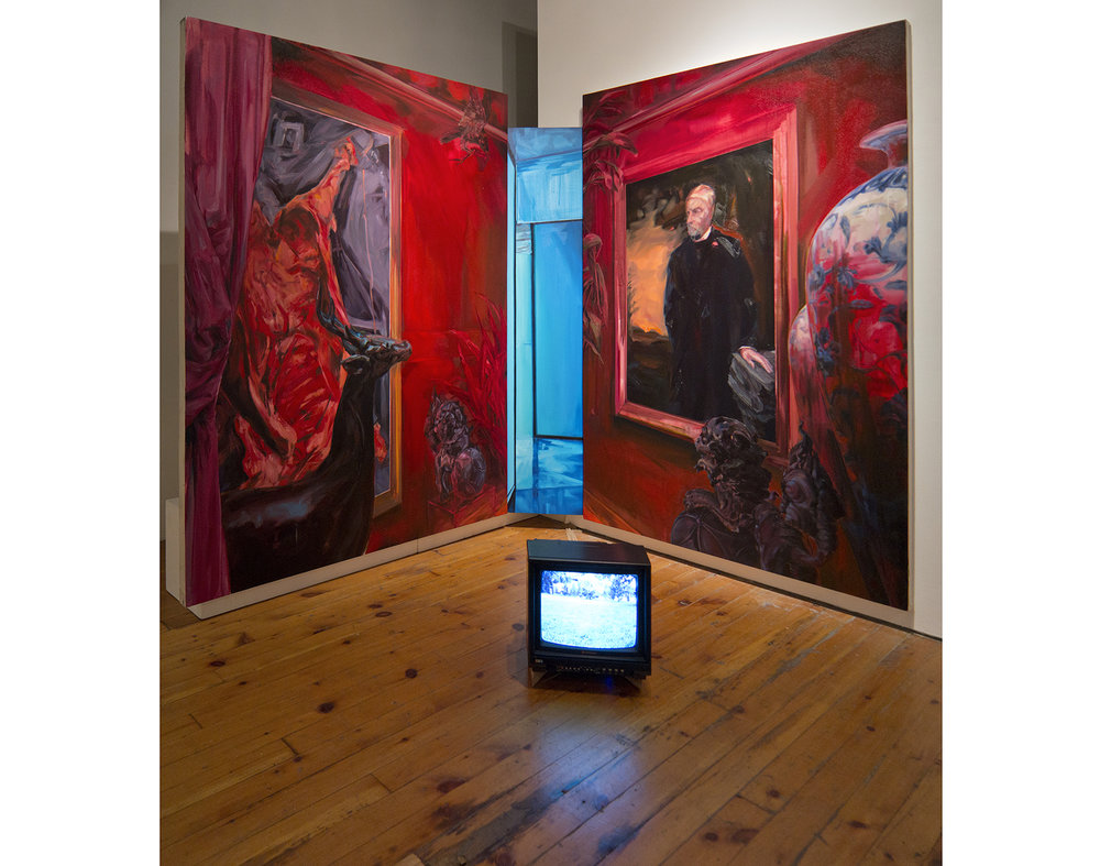 """You can only get there from here - A momentary decision of monumental significance  Oil & acrylic on stretched canvas, video on CRT TV. Triptych, 78"""" x 66"""", 72""""x 16"""" and 78"""" x 54"""" 2013"""