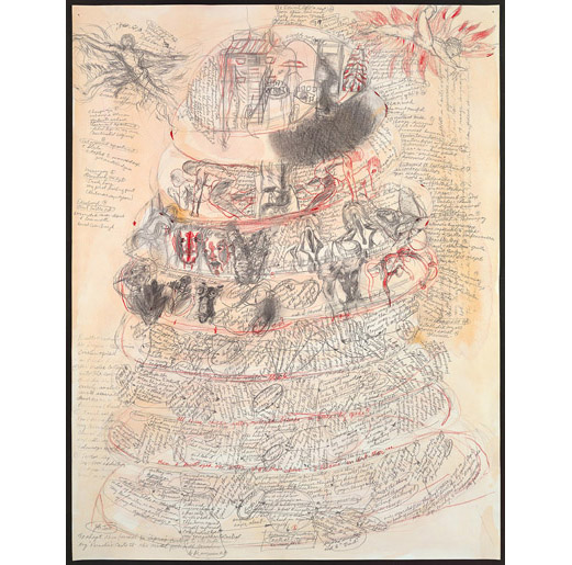 """The Nine Circles of Hell G ouache and graphite on paper 25.5"""" x 20"""" 2011 (based on Wm. Blake's roughly drawn sketch for 'Inferno', Canto 11, lines 1-15, these are mind-maps; writing becomes drawing becomes writing to produce layered emotional topographies, a palimpsest of nine visceral 'sections', each a feeling-body, picture-body confronted with illness.)"""