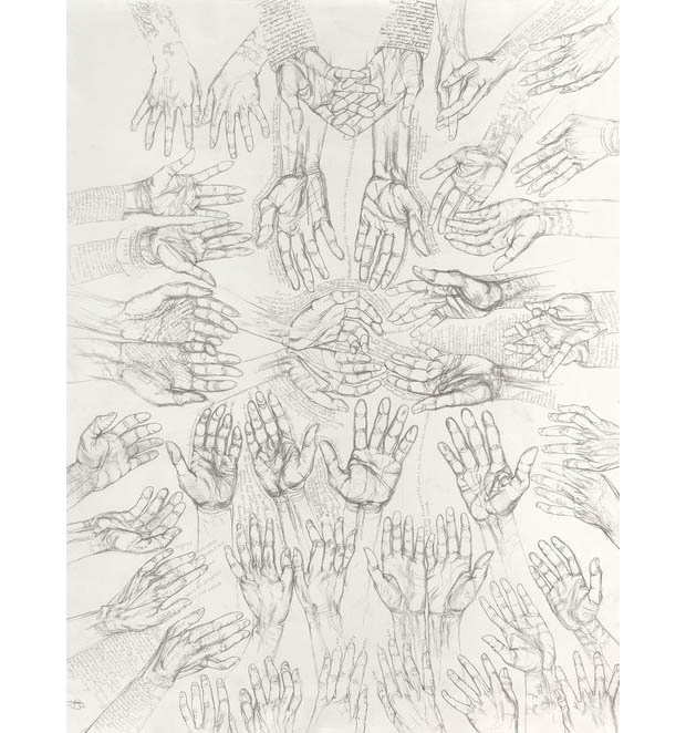 "Occam's Hand  2014 Graphite on paper 38"" x 50"""