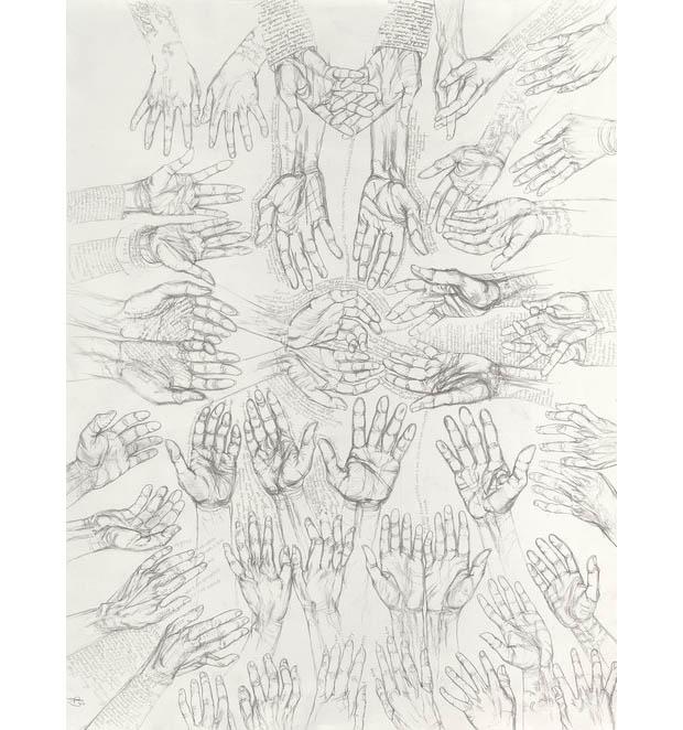 """Occam's Hand  Graphite on paper 38"""" x 50"""" 2014"""