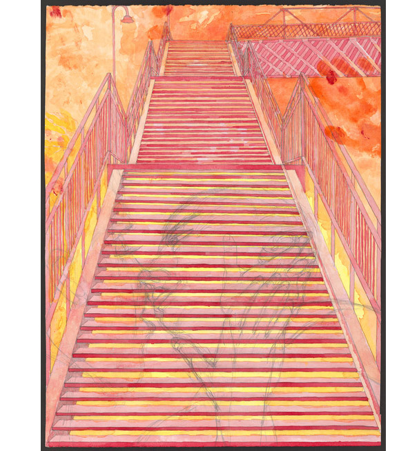 """The Red Steps: Love and a Fear of Heights  Graphite and gouache on paper 25"""" x 19"""" 2013"""