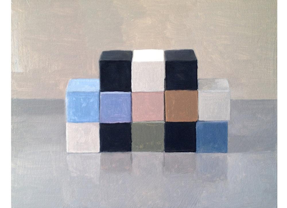 Study, Checkerboard VI,  2014 Oil on Wood 28 x 35 cm