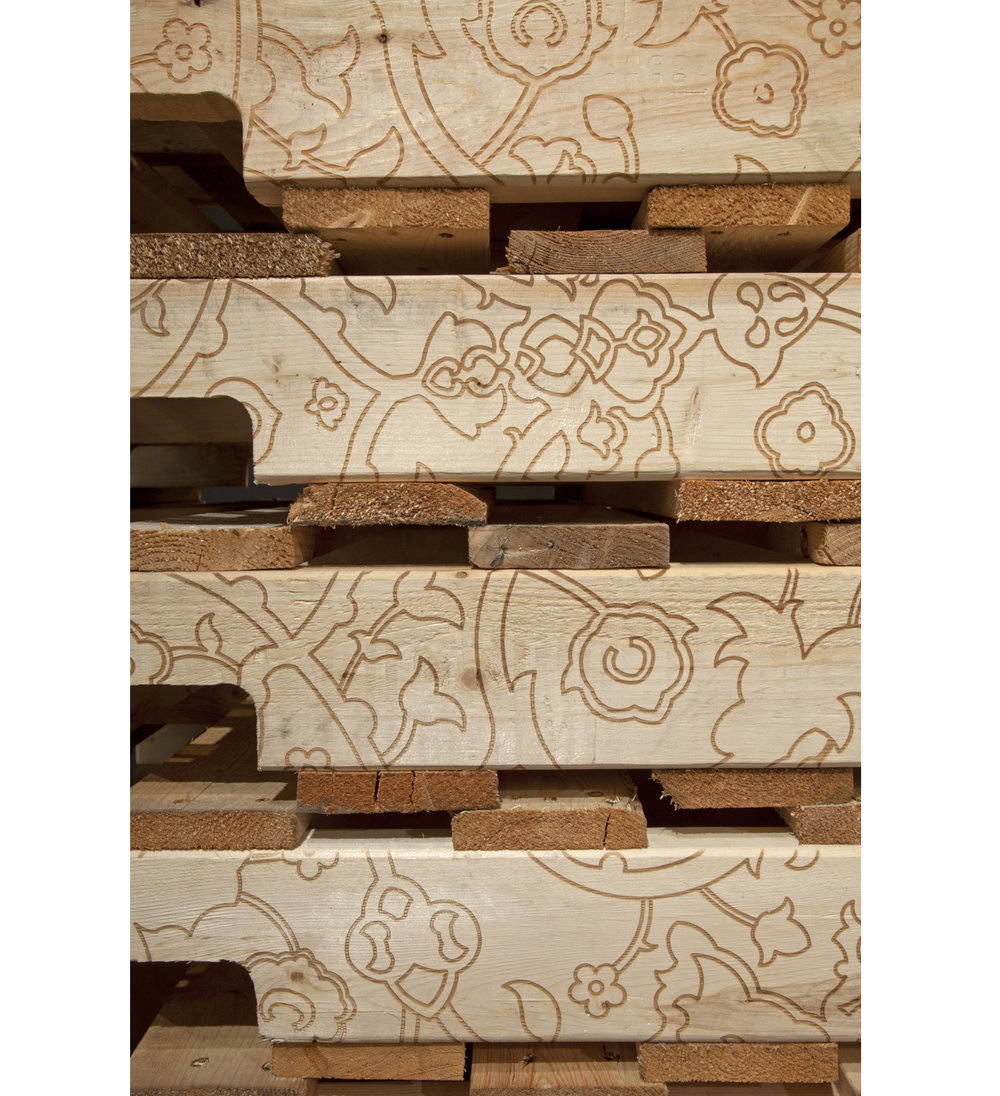 My Place Is Placeless (detail), 2013 Laser-etched wooden shipping pallets