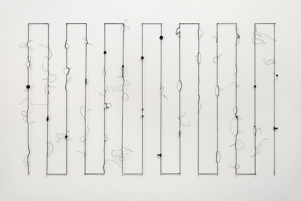 "Timeline 2, 2017 Mixed Media, elastic cord, wire 49""w x 24""h x ½"" d (Variable sizes)"