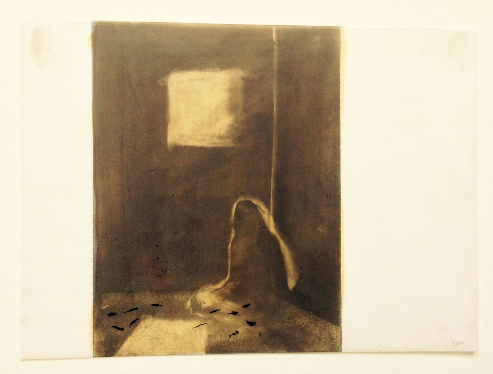 In a small room  by M Leighton-Hern Graphite powder, acrylic, ink on Mylar 12 x 19
