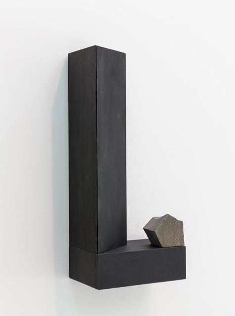 "Finding Form II,  2017 Rock, plywood, black gesso 28"" x 12"" x 8"""