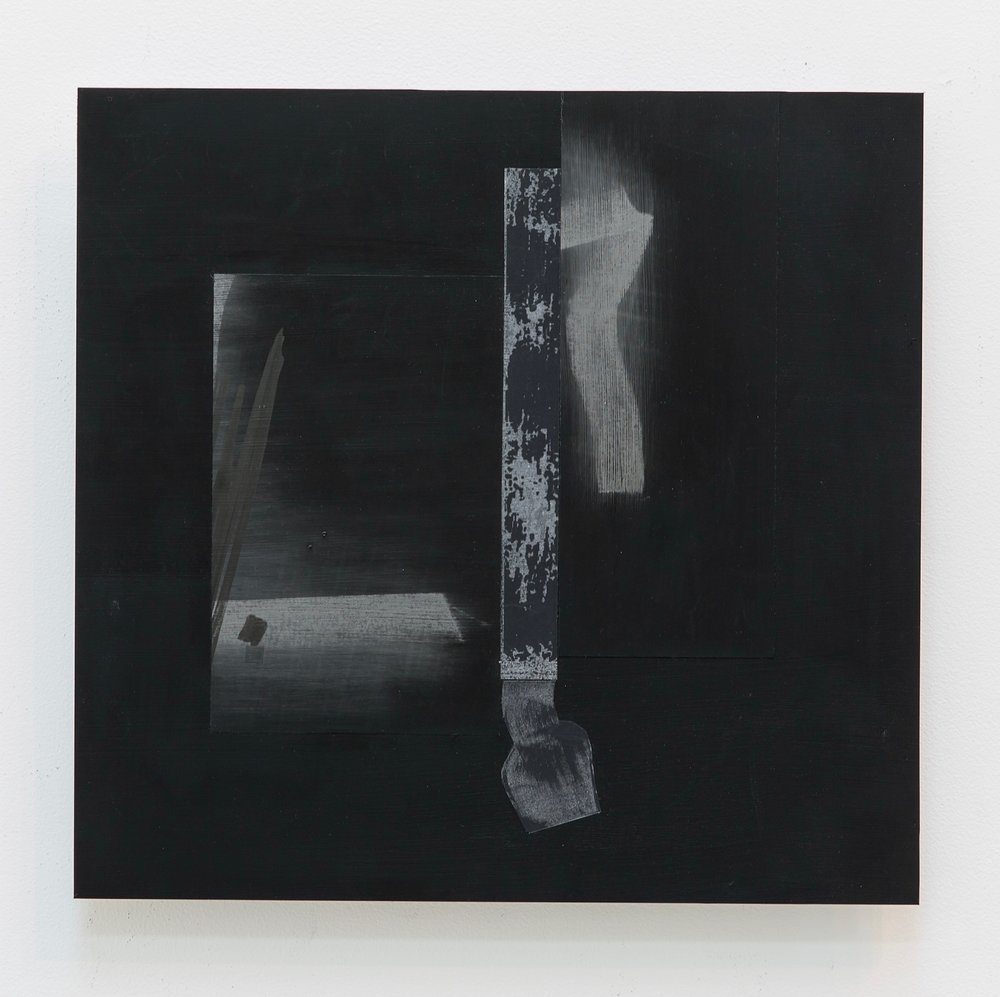 """Seeing into Darkness XIV , 2016 Drawing enlarged printed on mylar, graphite, and black gesso mounted on dibond 11.25"""" x 11.5""""/28.4 x 29.6 (cm) $450"""