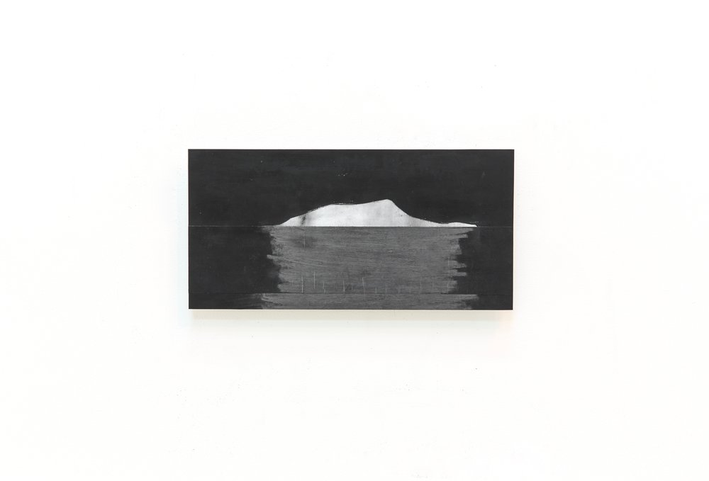 """Seeing into Darkness XVIII , 2017 Drawing enlarged printed on mylar, graphite, and black gesso mounted on dibond 5.75"""" x 11.5""""/15.3 x 29.5 (cm) $425"""