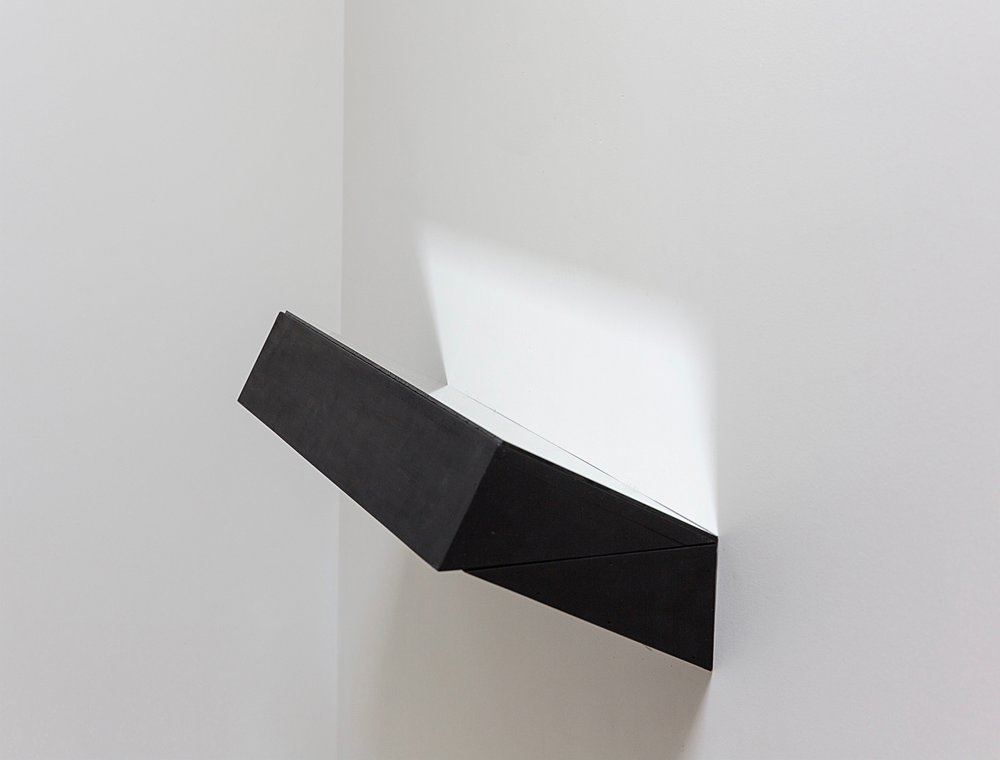 """Finding Form VII , 2017 Mirror, plywood, and black gesso 7.5"""" x 24"""" x 8.75""""/19 x 61 x 22.2 (cm) $1500"""