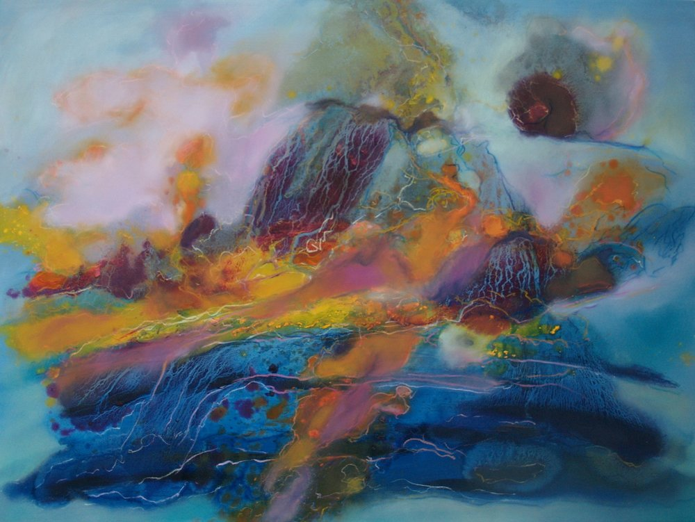 "Firmamentum , 2009| Mixed media 48"" x 56"""