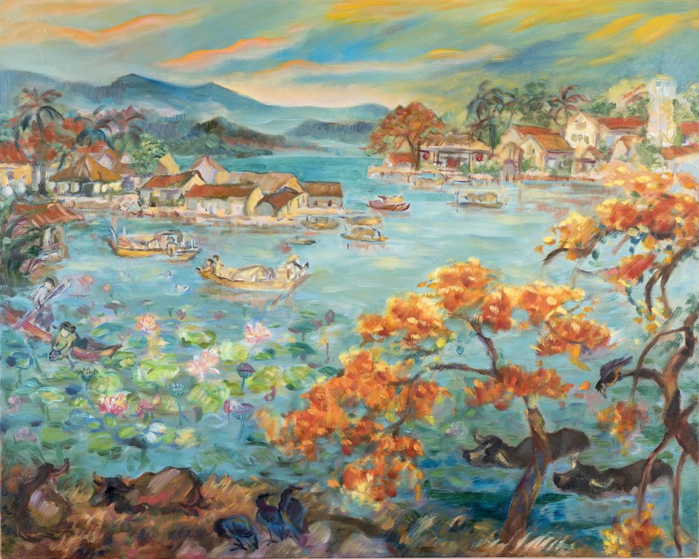 "Along Tau Hu Creek , 2016 Oil on canvas 24"" x 30"""