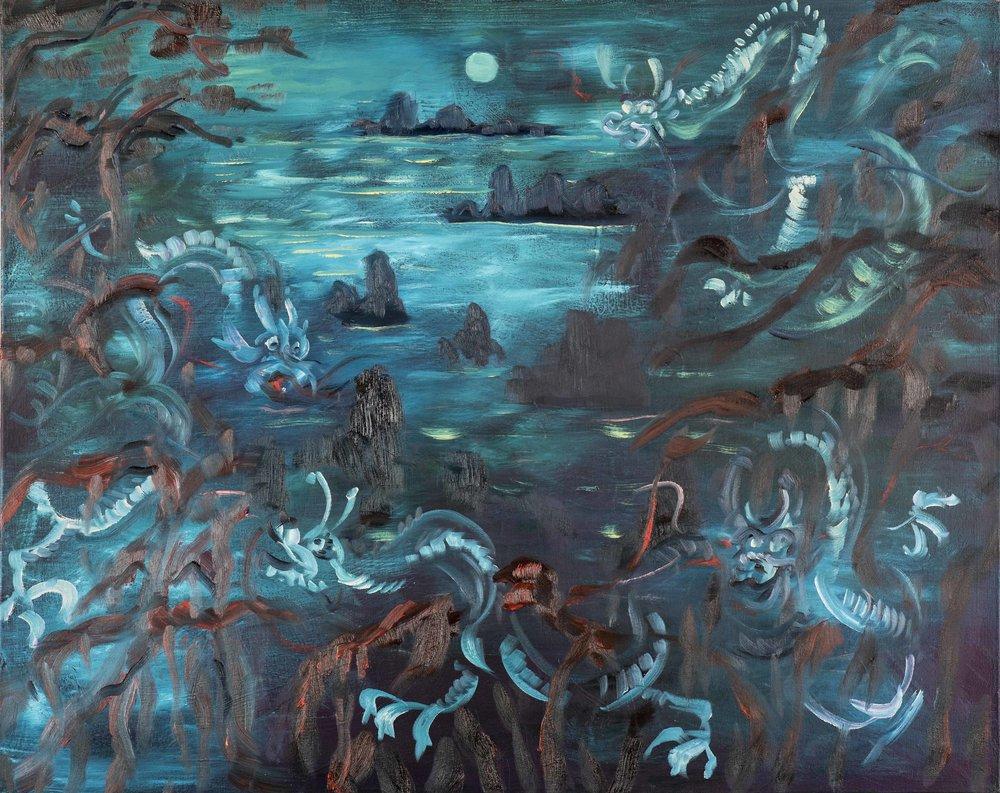 "Where the Dragons Roam , 2018 Oil on canvas 24"" x 30"""