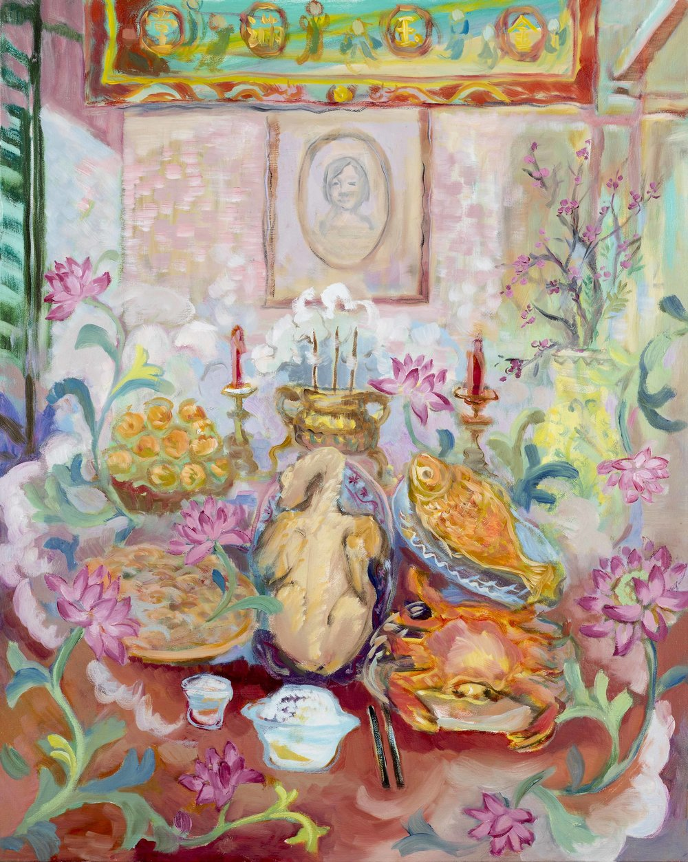 "Ancestor's Altar , 2016 Oil on canvas 30"" x 24"""