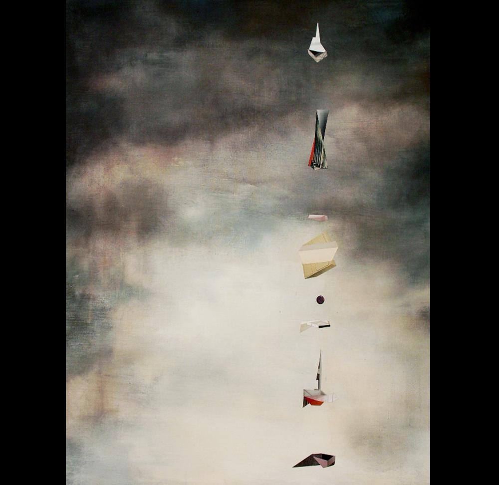 "Organization, 2017 Acrylic and magazine photo fragment collage on canvas 8"" x 10"""