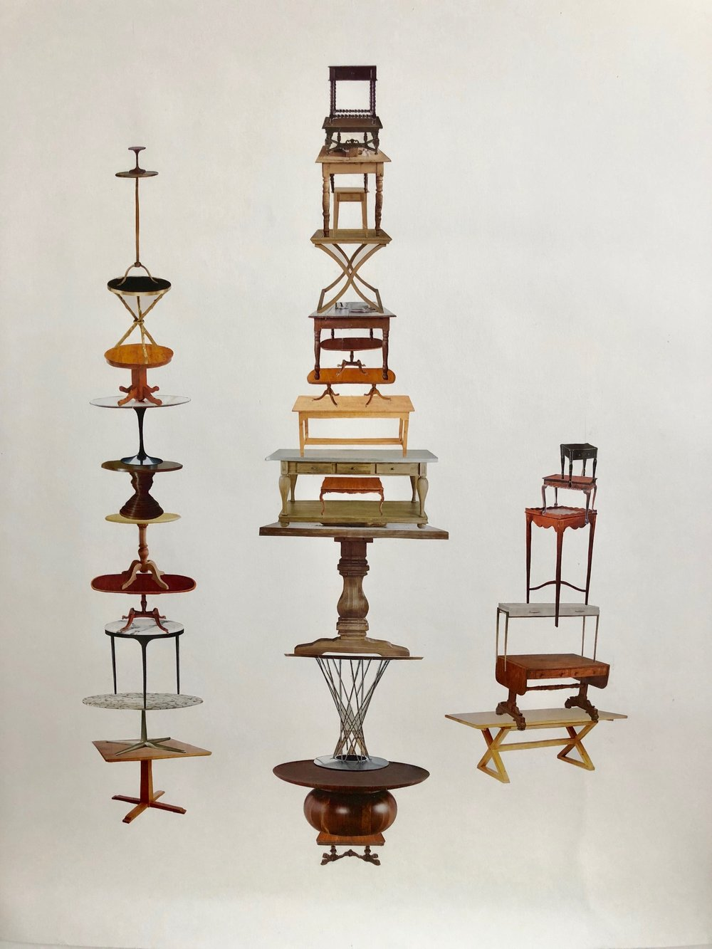 "Tonia Di Risio  Table Towers,  2018 Handcut collage 24""x36""  Gleaned from the pages of food and design magazines, photo fragments are arranged into a new landscape reflecting on consumption, home décor, and real estate."