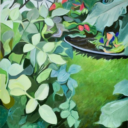 Ian Mackay  A Little Green , 2018 Oil on Panel  36 x 30 inches  A musing on the mindful spaces of small urban gardens