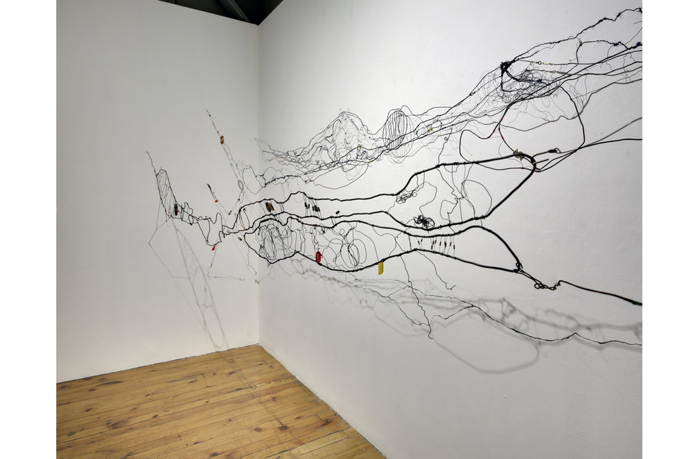 Rain Gently Falling , 2018 Installation view at the Red Head Gallery Mixed media, 15' x 4' x 3'