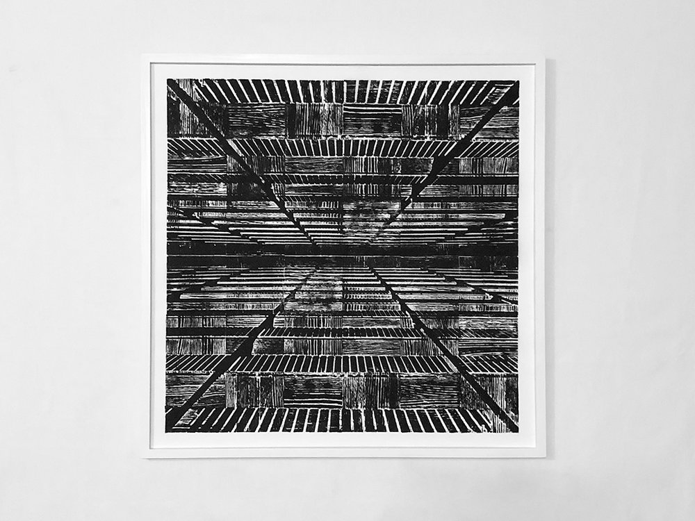 "With my feet on the side of the building I imagined walking towards the sky , 2018   Ink transfer on vellum with engraved parquet floor tile woodblock 32.5"" x 32.5"""
