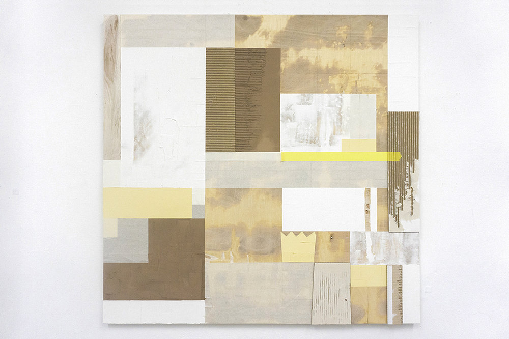 "Textural study I , 2017 Wood filler, drywall compound, cardboard and painter's tape on wood panel 40"" x 40"""