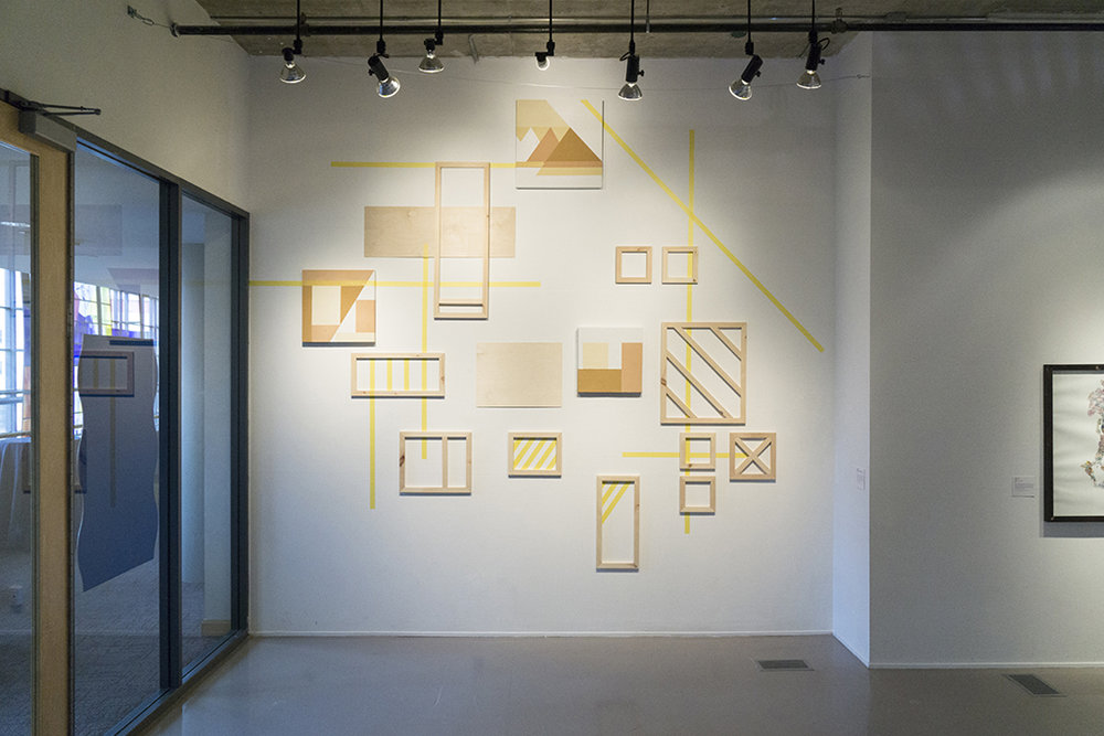 How to build to then take down  (Wall Installation), 2016 - 2018   Wood filler, drywall compound, pine frames and painter's tape 10' x 12'