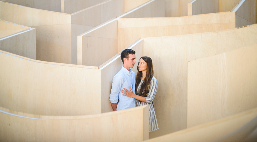 005 engagement session in a labyrinth
