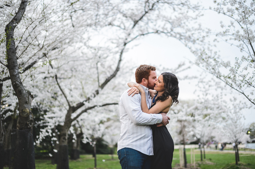 006 Couple embracing in cherry blossom grove