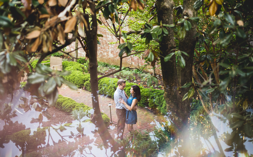 012 creative portrait of couple next to magnolia tree
